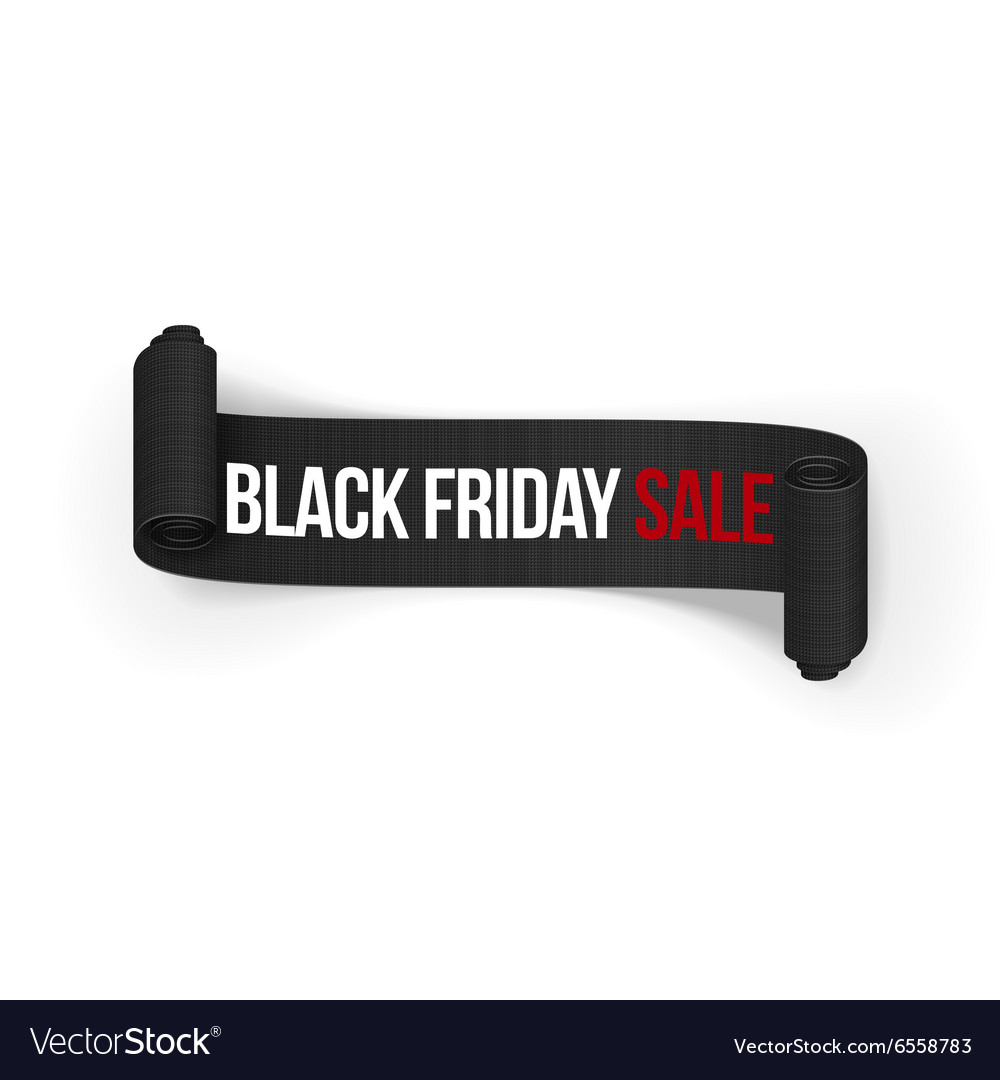 Black friday sale realistic rolled ribbon vector