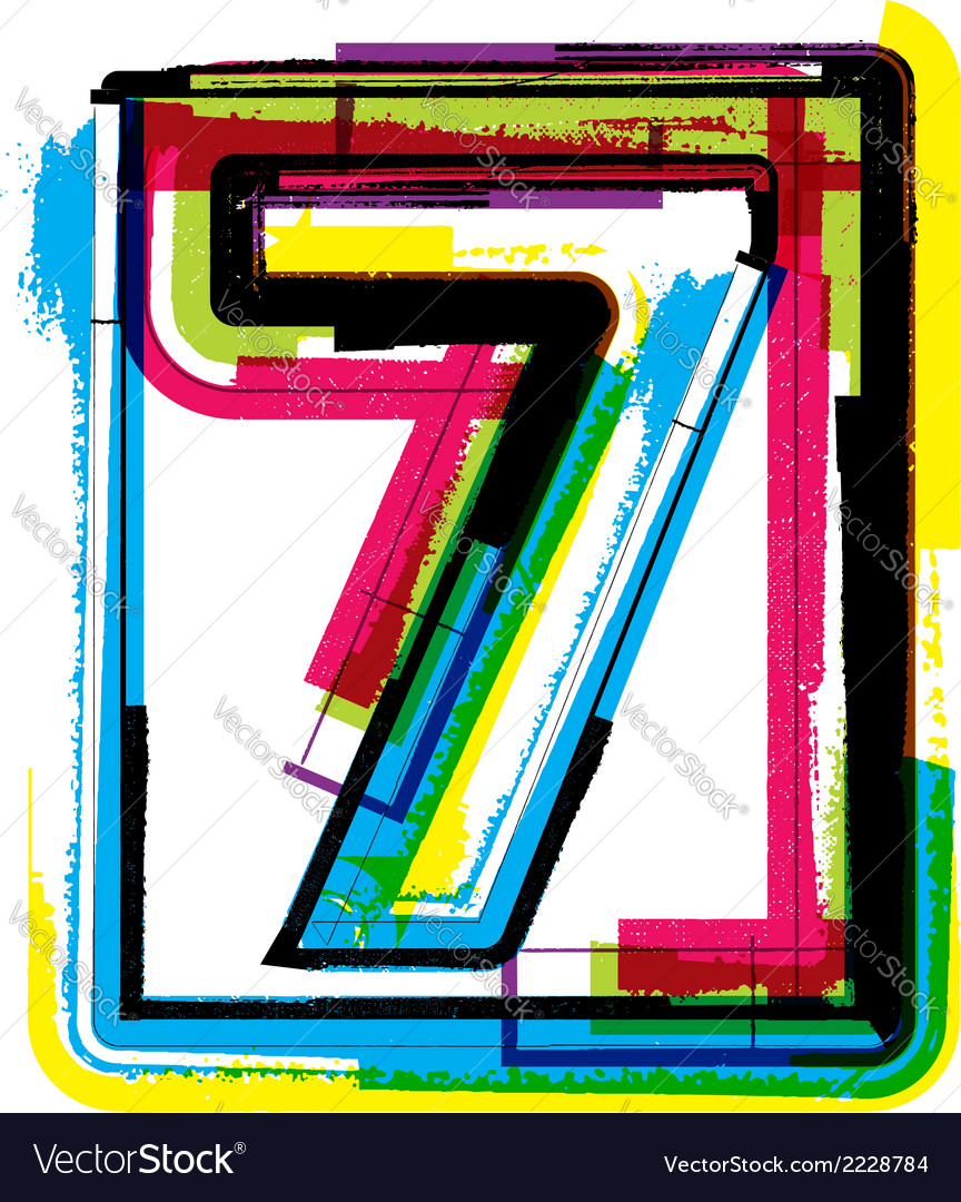 Colorful grunge font number 7 vector