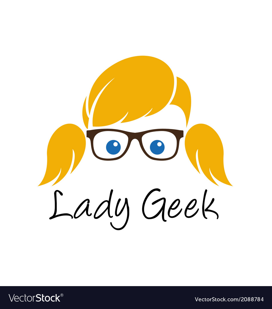 Lady geek logo template vector