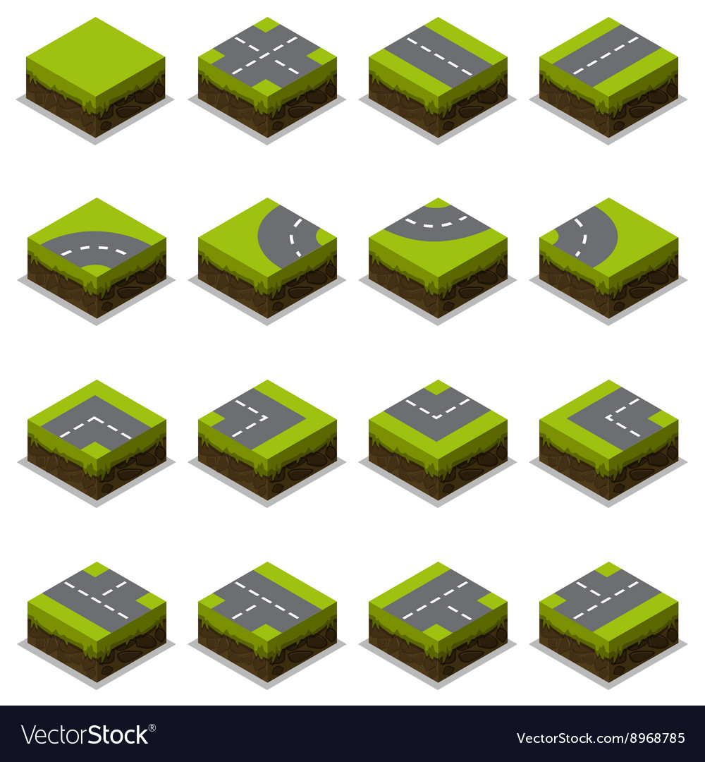 Assembled isometric road intersection vector
