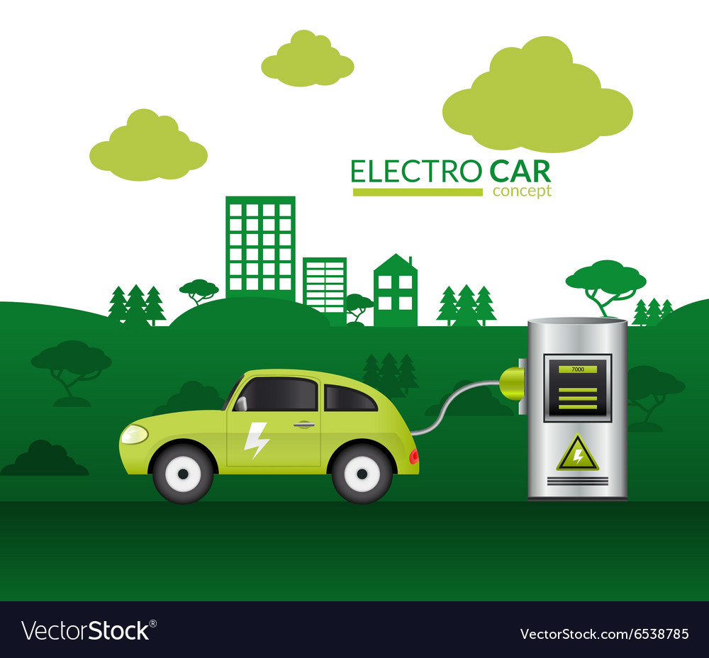 Electric car print vector