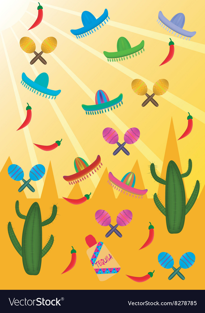 Set of mexican pictures on the background of vector