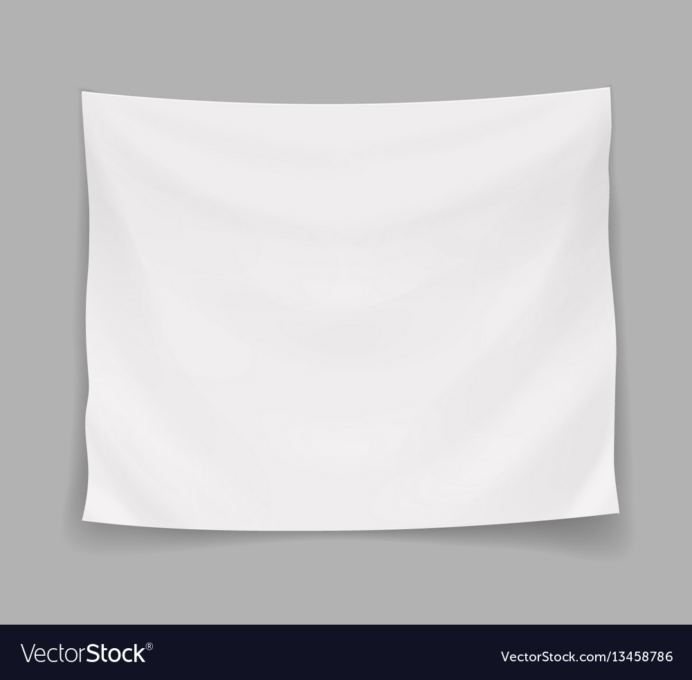 White blank banner or hanging empty flag vector