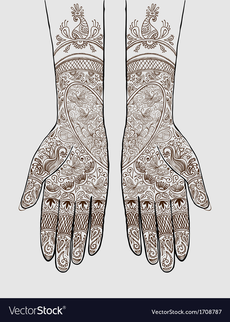 Hands with henna tattoo vector