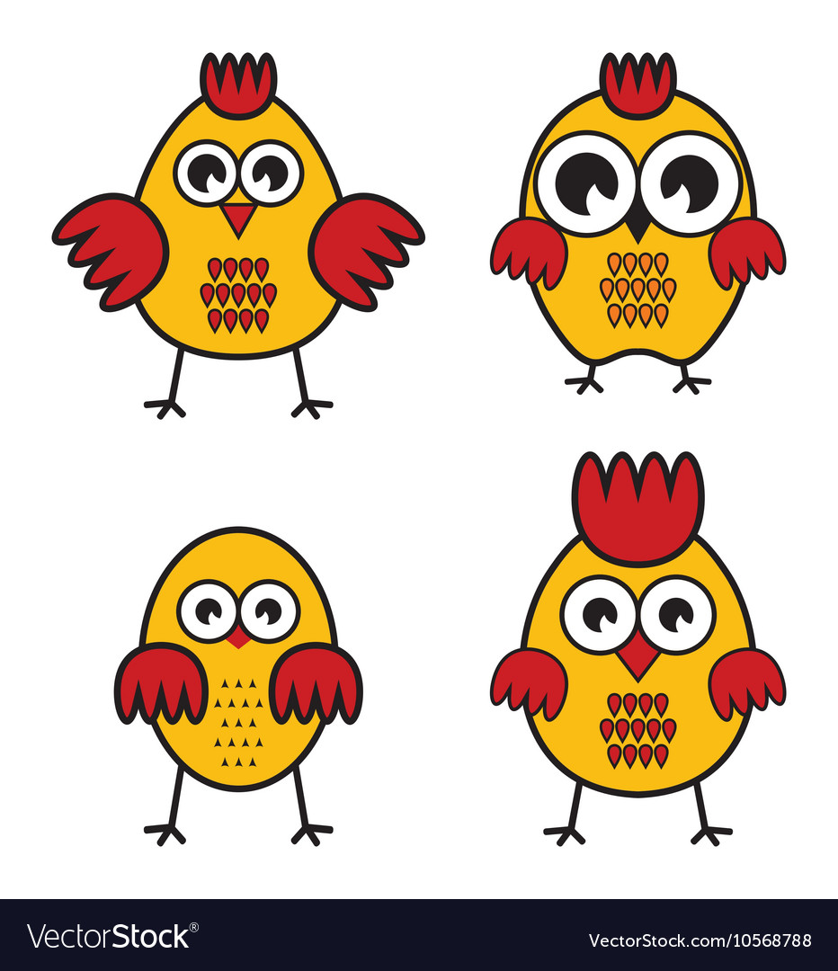 Chickens set vector