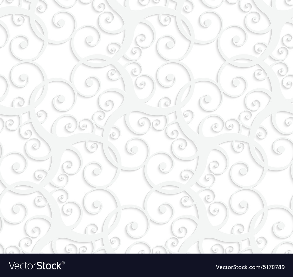 3d white slim ornament with swirls vector