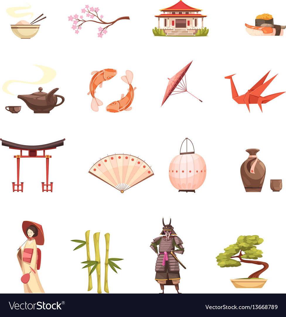 Japan retro cartoon icons set vector