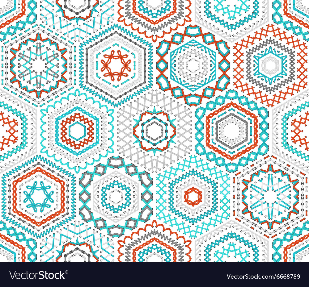 Seamless hexagons embroidery pattern vector