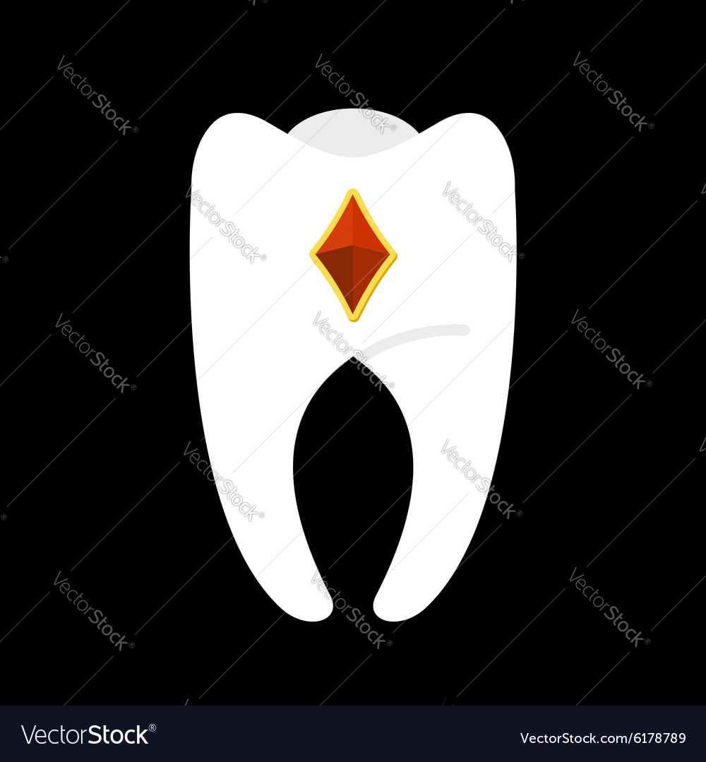 Tooth with diamonds white clean tooth with gem vector