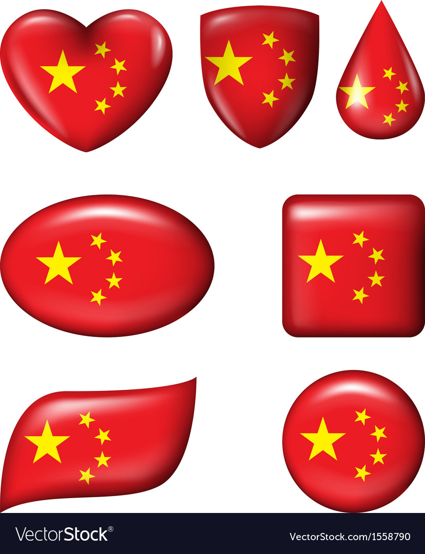 Chinese flag in various shape glossy button vector