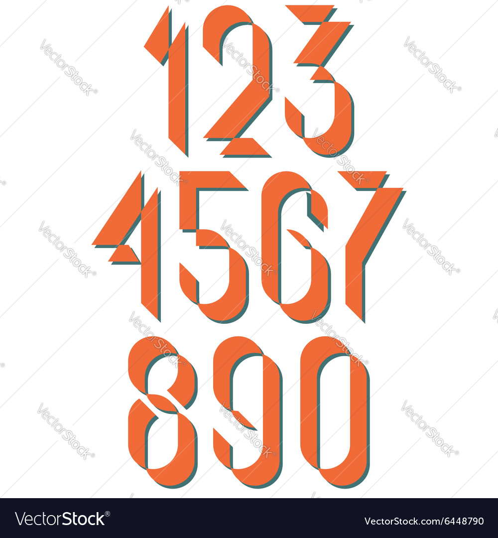Numerals old style set numbers retro poster or vector