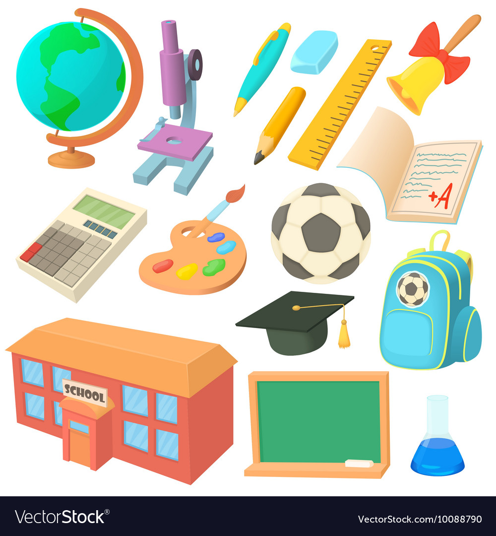 School icons set in cartoon style vector