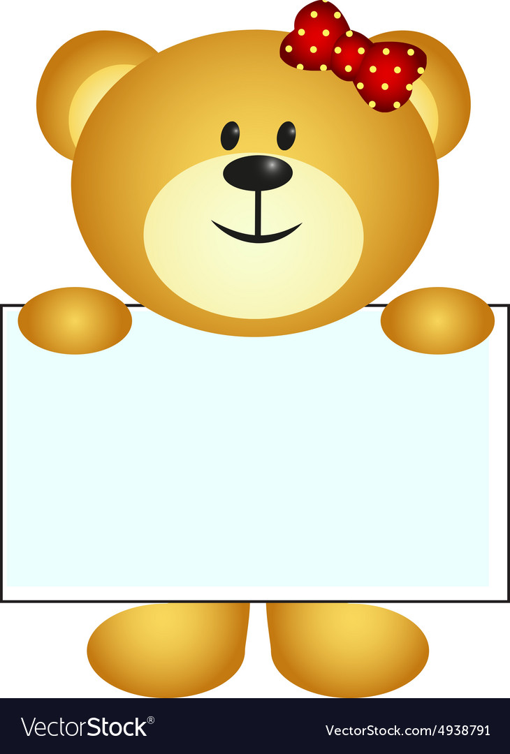 Bear with white board vector