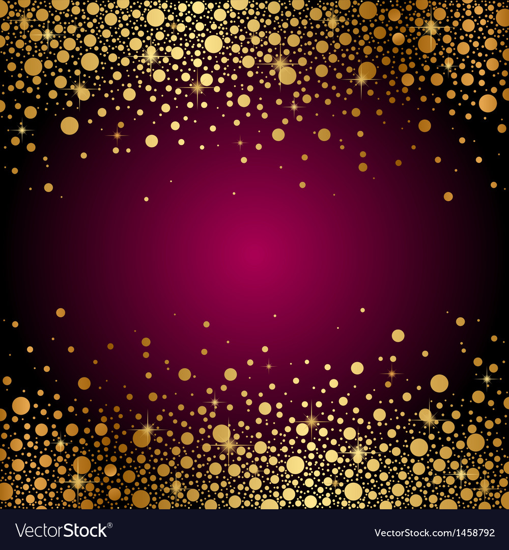 Maroon background gold sparkles vector