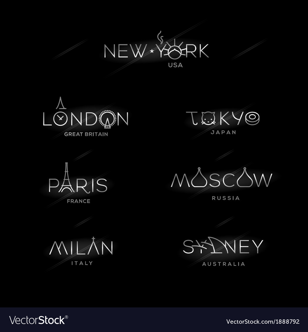 World cities labels  new york milan paris london vector