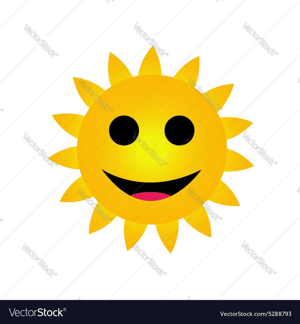 Bright yellow sun smiling vector