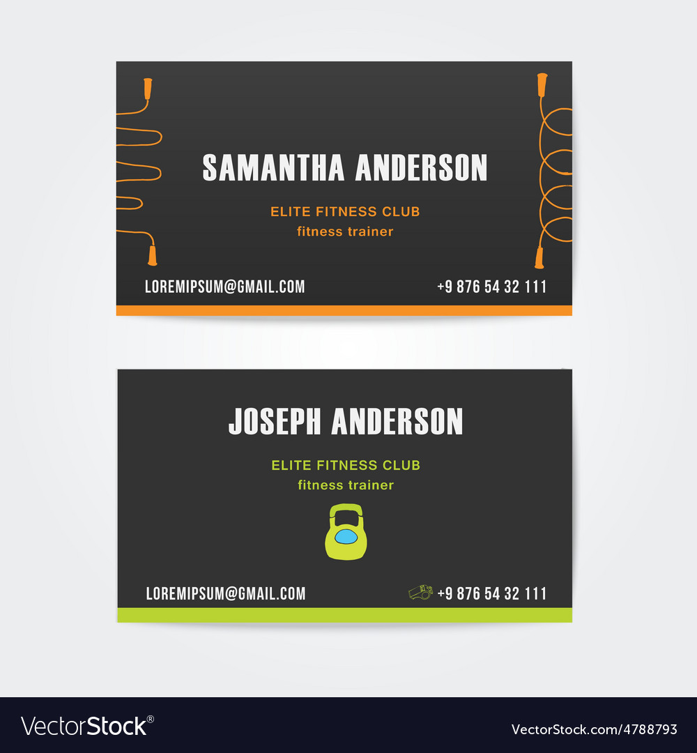 Design business cards for fitness vector