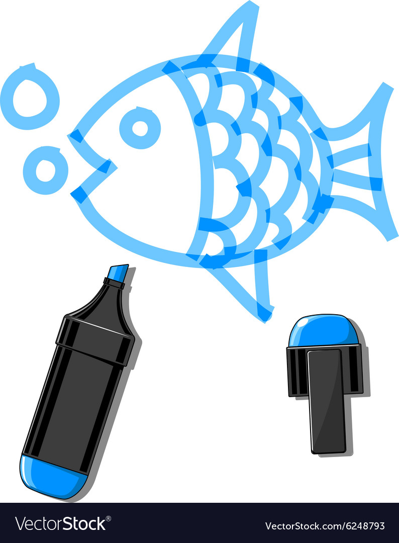 Fish and blue marker vector