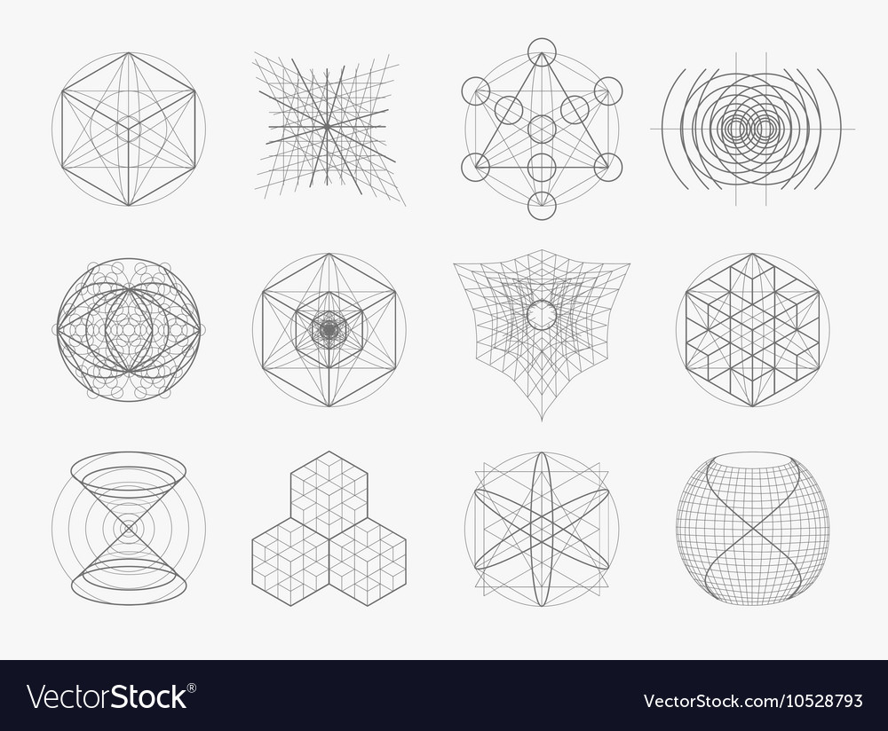 Sacred geometry symbols and elements set vector