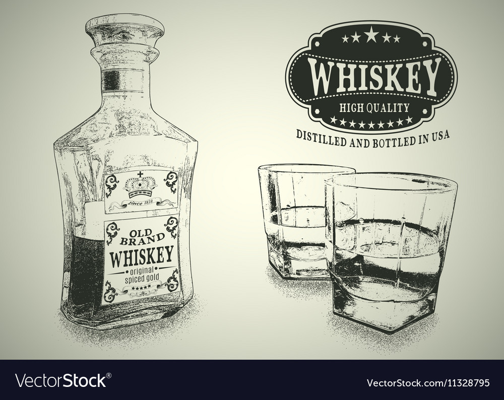 Stemware and bottle with whiskey vector