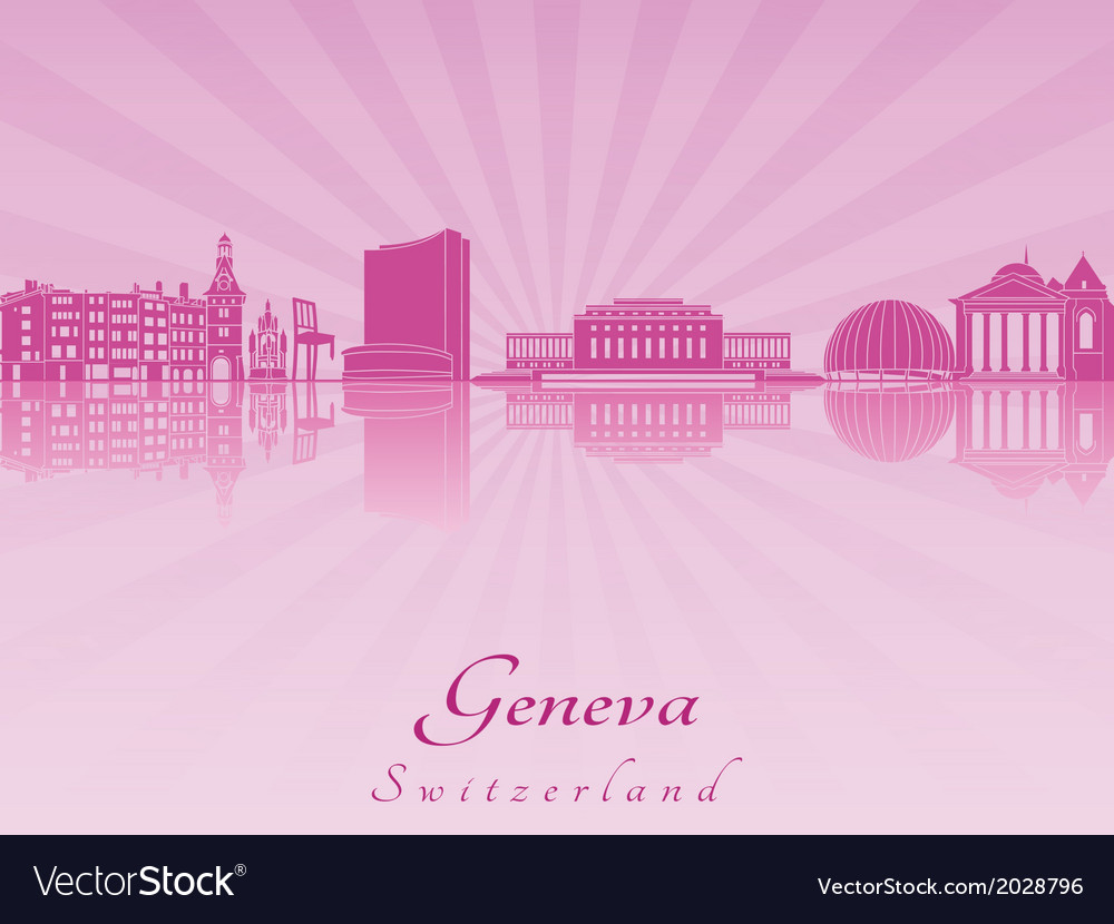 Geneva skyline in purple radiant orchid vector