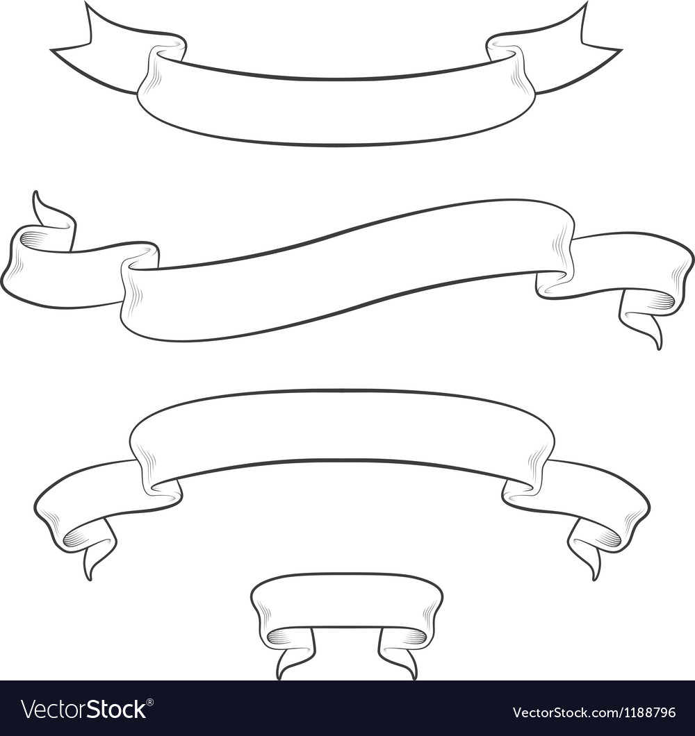 Set of 4 vintage ribbons vector