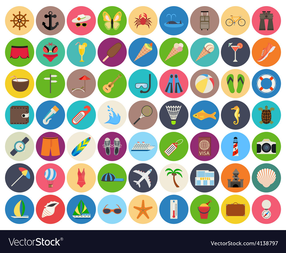 Beach and summer rest colorful icon set on rounded vector