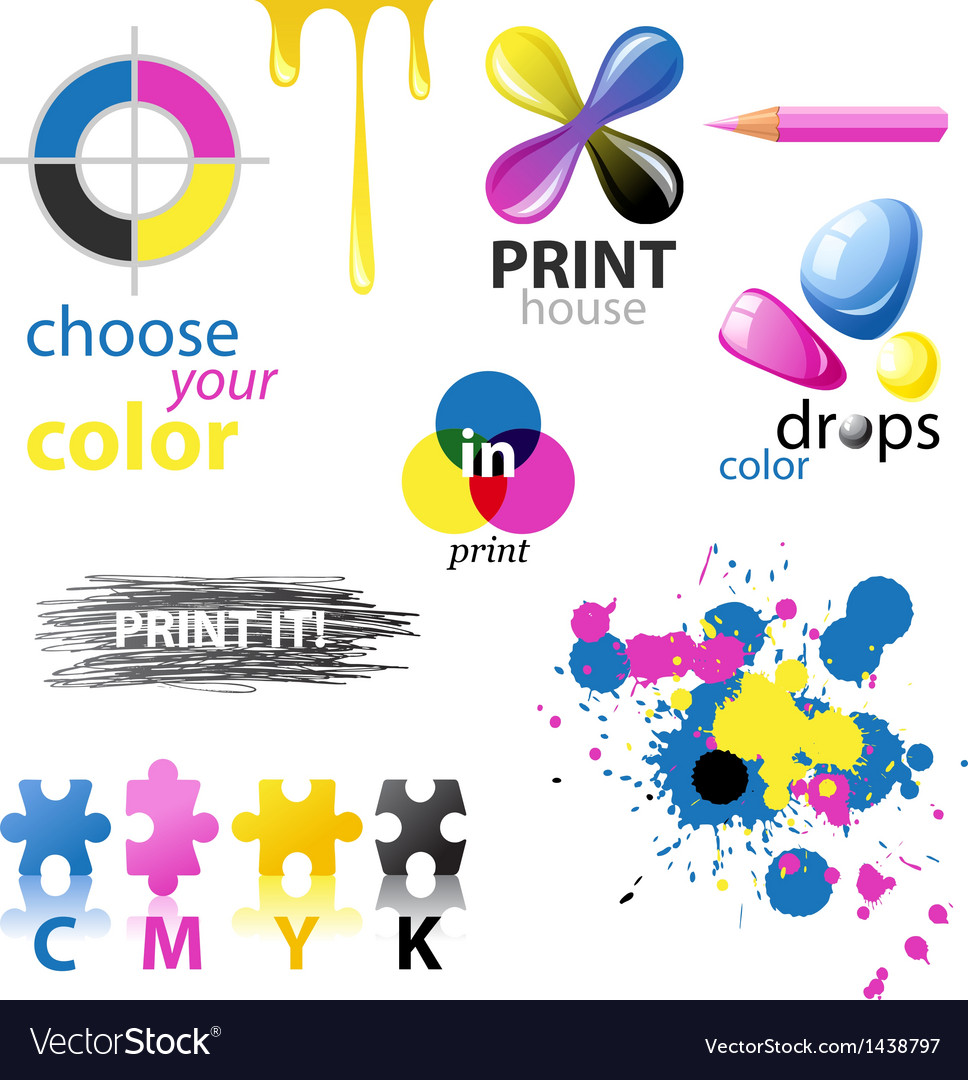 Cmyk design elements vector