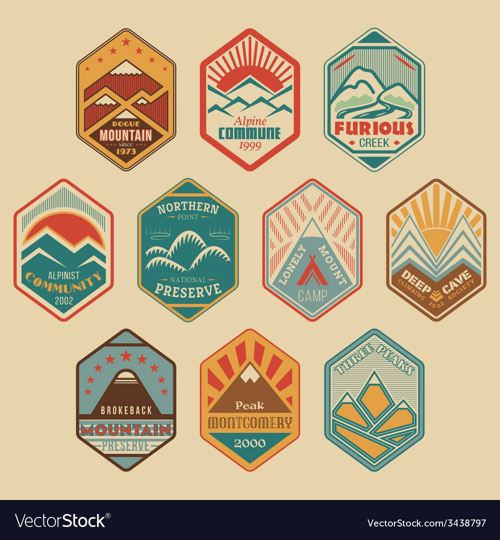 Mount badge set1color vector