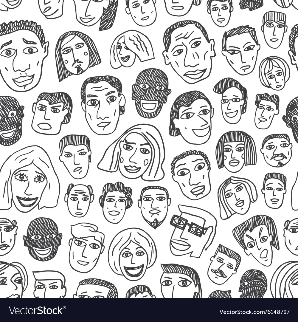 People faces seamless background vector