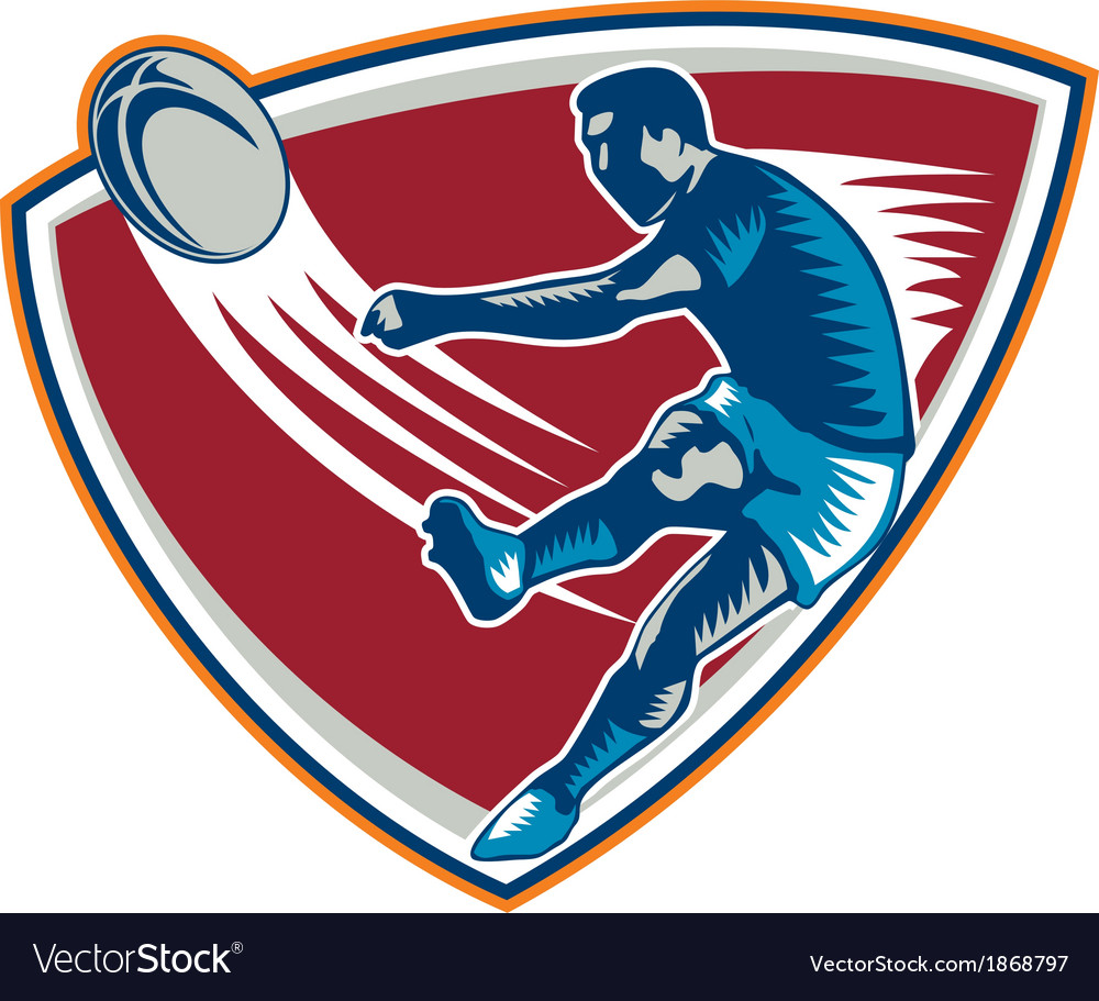 Rugby player kicking ball shield woodcut vector