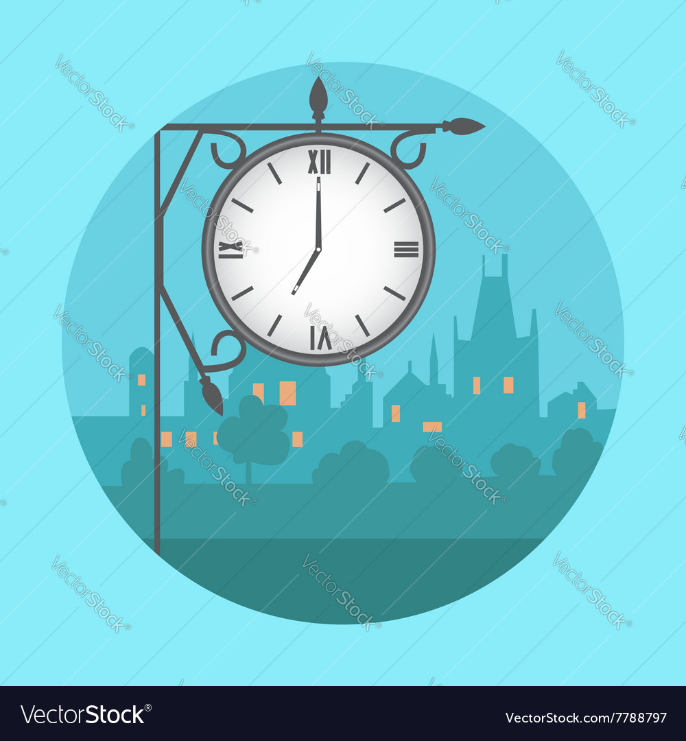 Street clock in the background of night city vector