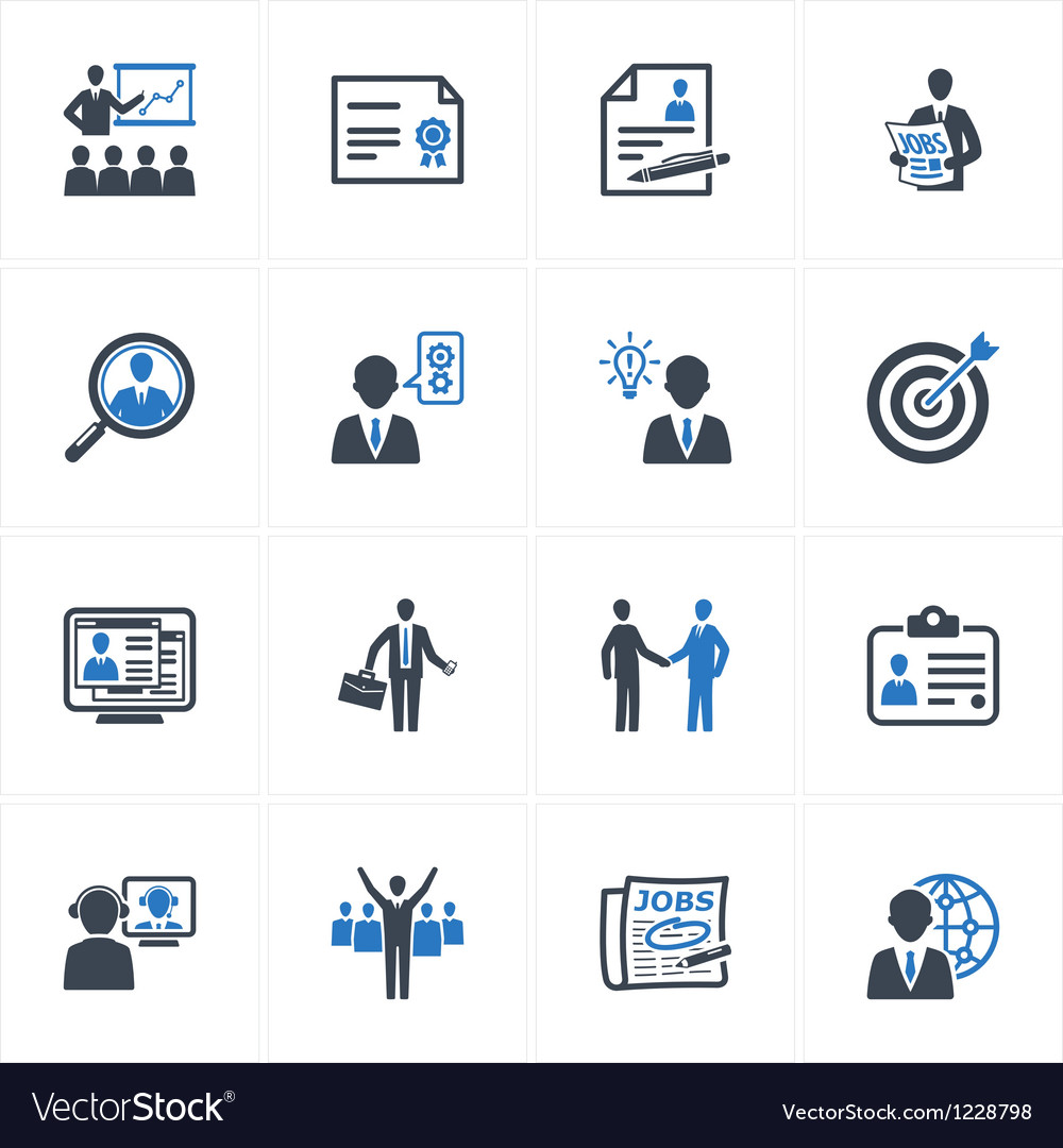 Employment and business icons  blue series vector