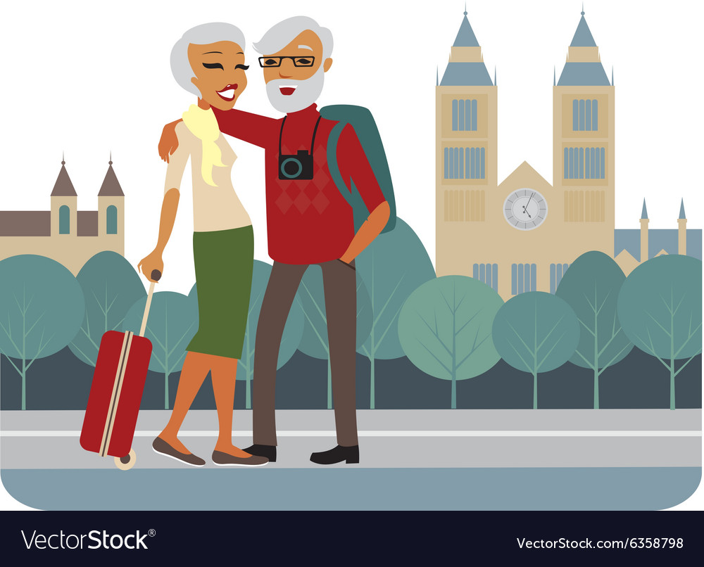 Happy senior couple travelling vector