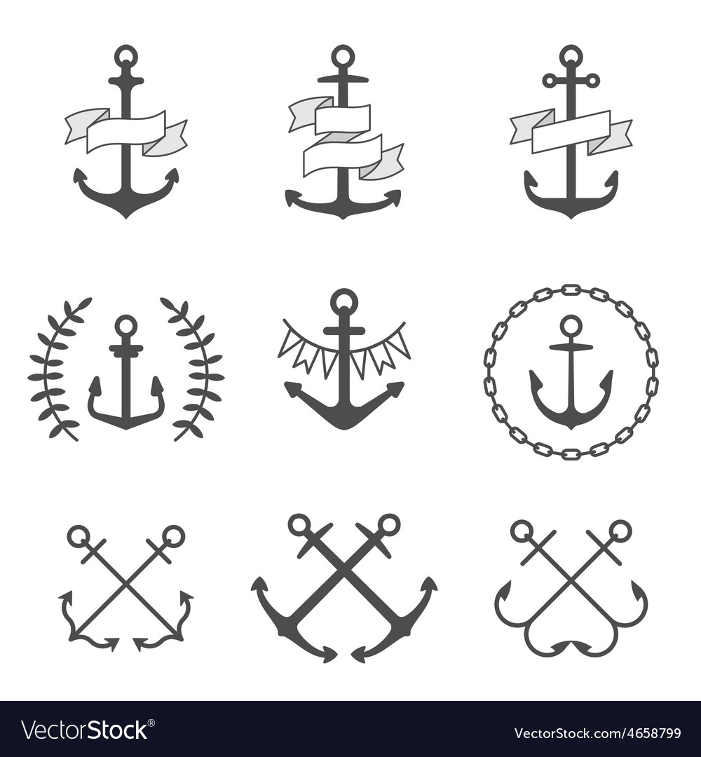 Anchor icons and logos set vector