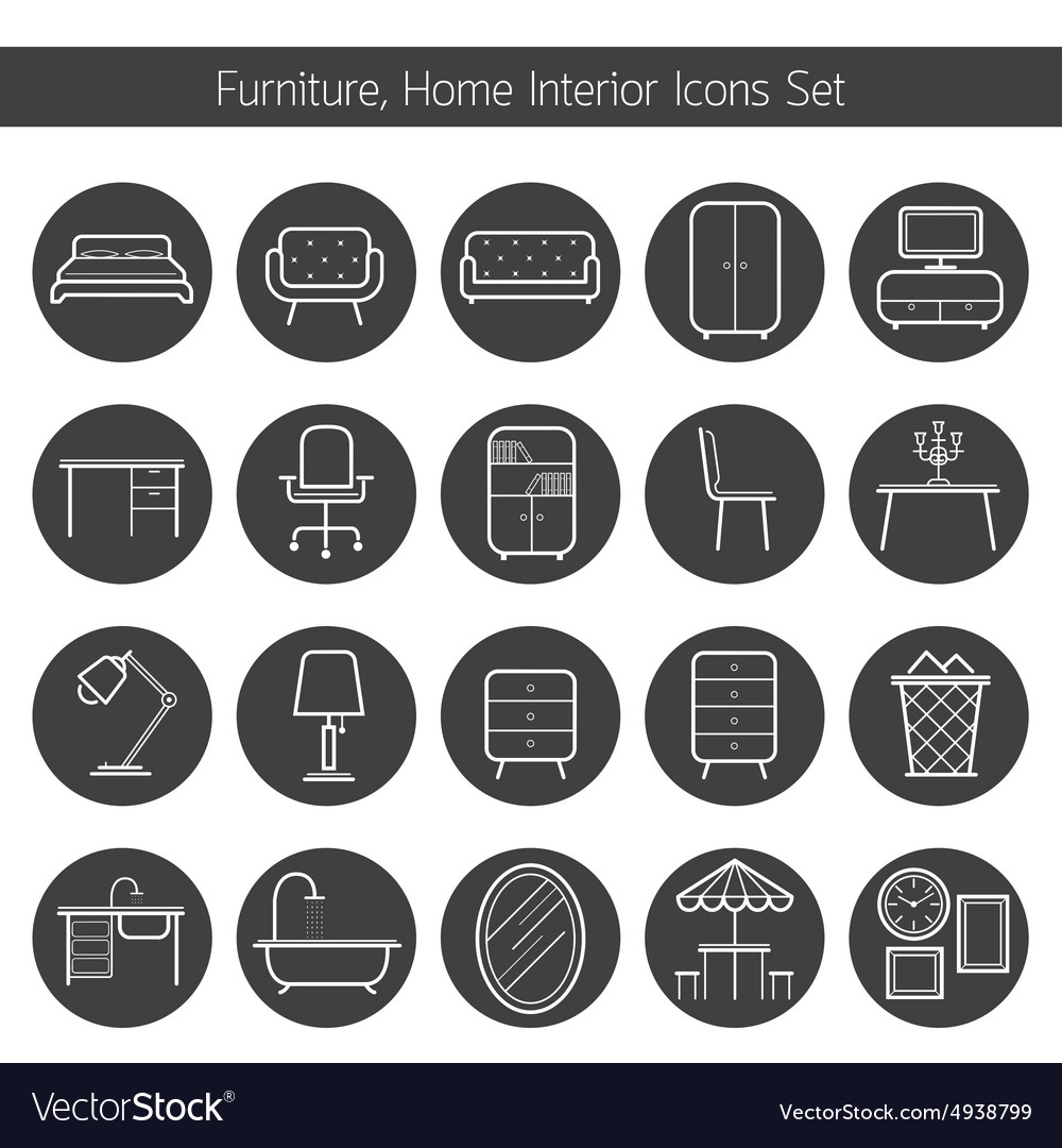 Furniture line icons set vector