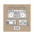 retro audio cassette tape recorder music player vector image
