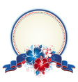 bouquet of hibiscus and cirle label with blue band vector image