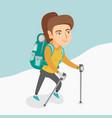 caucasian mountaineer climbing a snowy ridge vector image