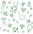 child drawing home doodle art vector image