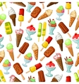 Chocolate and fruit ice cream seamless pattern vector image