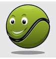 Happy bouncy green cartoon tennis ball vector image