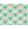 Pink Flamingos and palm leaves vector image