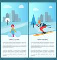 wintertime girl and skier vector image