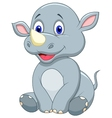 Cute baby rhino cartoon vector image vector image
