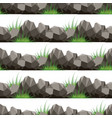 cartoon grass and stones seamless pattern vector image
