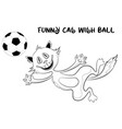 funny contour cat with soccer ball vector image