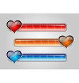 three cardiogram buttons with hearts vector image vector image