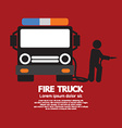 Fire Truck With A Man vector image