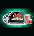 online cinema poster modern laptop concept vector image